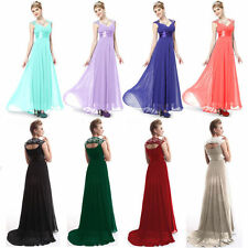 US Womens Long Chiffon Evening Formal Party Ball Gown Prom Bridesmaid Dress 4-16