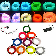 Led EL Wire Rope Flexible Neon Glow Car Party Decor Light+FREE 3V/12V controller