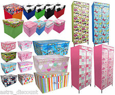 Childrens bedroom STAMPATA GUARDAROBA di stoccaggio petto boxtrunk TOY ABITI ORGANIZER