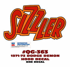 QG-363 1971-72 DODGE DEMON - SIZZLER HOOD DECAL - ONE MULTI COLOR DECAL