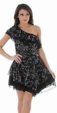 One Shoulder Floral Chiffon Dress Rouched Top Asymmetric Ruffle Black NWT S M