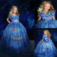 Cinderella 2015 Gown Grils Kid's Princess Costume Butterfly Bowknot Blue Dresses