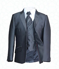 New Boys Silver Grey 3pc Page Boy Suit Wedding Party Dinner Prom Suit Outfit