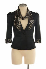 Black Jacket Leopard Cuffs Chiffon Scarf Cropped 3/4 Sleeve Form Fit Coat NEW