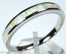 Quality White Fire Opal Inlay Genuine 925 Sterling Silver Band Ring All Sizes