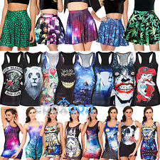 Women's 3D Pattern Punk Tank Vest Sleeveless Shirt Tops Bodycon Dress Mini Skirt