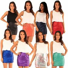 New Womens Sequins Mini Skirt 2 In1 Chiffon Party Dress 8-14