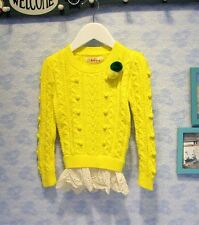 New autumn baby girls yellow sweaters kids knitted o-neck pullover clothes 2-5Y