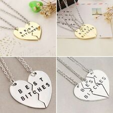 BEST BITCHES Best Friends Forever BFF Valentine Heart Pendant Necklaces Modern