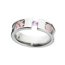 Pink Camo Rings, Womens Licensed Mossy Oak Pink BreakUp Pink Sapphire, Camo ring