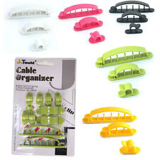 Self Adhesive Plastic Cable Clips Cord Wire Winder Kit Home Office PC TV stereos