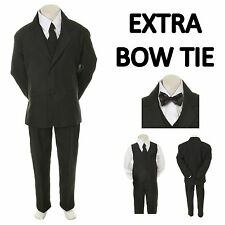 New Teen Boy Black FORMAL Wedding Prom Party Tuxedo Suit+ Black Bow tie sz 16-20