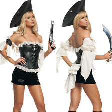 Sexy Womens Adult Swashbuckler Pirate Sailor Halloween Costume Fancy Dress Set