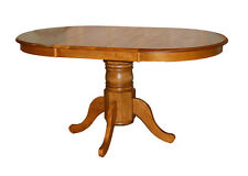 Round Country Farmhouse Oval Round Dining Kitchen Pedestal Leaf Wooden Oak Table