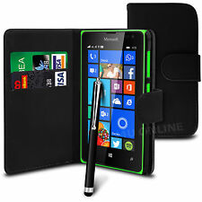 Black PU Leather Wallet Flip Case Cover, Film & Pen for Various Mobile Phones