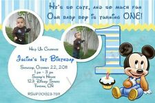 Disney Baby Mickey Mouse 1st Birthday Invitation - Design BMK04