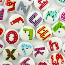 20/100pcs Assorted Wood Round English Letter Buttons Lot 15mm Craft/kids Sewing