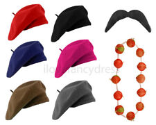 BERET HAT RED ONION GARLAND & MOUSTACHE FRENCH FANCY DRESS COSTUME BASTILLE DAY