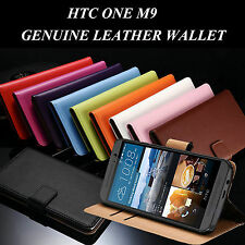Premium HTC ONE M9 Genuine Leather Wallet Case Cover Stand