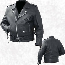 Mens Black Solid Cowhide Leather Classic Biker Style Motorcycle Jacket Zip Out