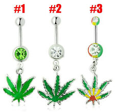JAMAICAN POT LEAF Rasta Belly Navel Ring Weed Button Piercing Green Maple Leaf