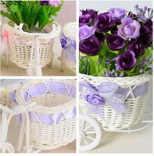 1x Nice Rattan Tricycle Bike Basket for Flower Vase Storage Decoration Gift - 6A