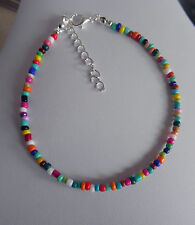 glass bead anklet mixed COLOURS ankle chain RAINBOW seed bead