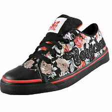 Babycham Womens Girls Nina Floral Lace Up Plimsoll Trainers Black * AUTHENTIC *
