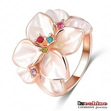 women 18k gold plated white Enamel flower rings austrian crystal SWA elements