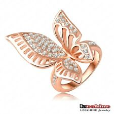18K Rose Gold Plated Austrian Crystals butterfly animal Engagement wedding rings