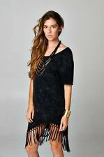 Super chic black mineral washed cross back tunic dress with a fringed hem
