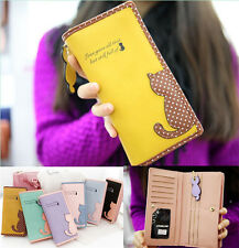 Fashion women leather wallet cat purse clutch wallet long card holder mobile bag
