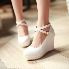 2015 New Womens Cross Strap Platform Wedge Heel Sweet Candy High Shoes Plus Size