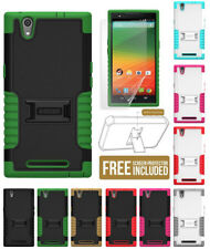RUGGED TRI-SHIELD SOFT RUBBER SKIN HARD CASE COVER STAND FOR ZTE ZMAX Z970 PHONE