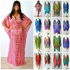 SOUTH BEACH KAFTAN S M L XL 1X 2X 3X Chiffon Boho Maxi / Short Length Cover Up