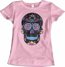 Black Colorful Candy Skull T Shirt Womens Pink Tank Top Flower Eyes Small to 3XL