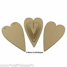 Wooden heart shape. Wood craft cut out for plaques and weddings (tall hearts)