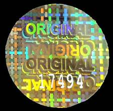 """LARGE """"ORIGINAL"""" Hologram Stickers, NUMBERED 30mm ROUND Warranty Security Labels"""
