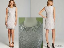 NWT ADRIANNA PAPELL Sizes 6/8/10 Beaded Neckline Silver/Gray Lace Cocktail Dress