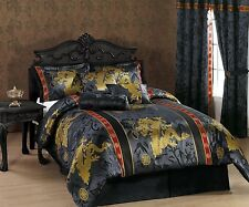 7 Pc Asian Oriental Dragon Comforter Set Black Red Full Queen King Bed Bedding