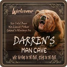 Roaring Bear Man Cave Personalized Sign with Grizzly & Wood Background C1256