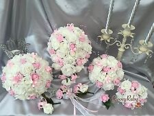 Wedding Flowers Butterfly Baby Pink, Crystal Bouquet, Bride, Flower-Girl Wand