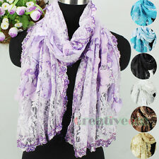 New Vintage Sequin Soft Lace Embroider Oblong Shawl Scarf Wrap With 3D Floral