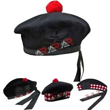 New Scottish Black Wool Balmoral plain Hat With Red Pompom on Top