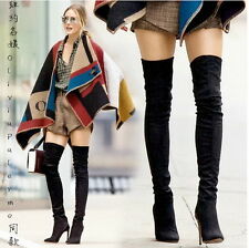 Womens Sexy Over Knee Pointy Toe High Heel Stilettos Boots Side Zip Autumn Shoes