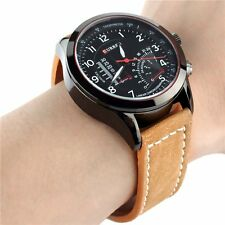 Fashion Men's Round Dial Skeleton Leather Strap Sport Waterproof Wrist Watch New