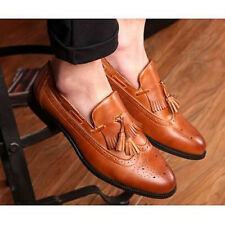 Mens Retro Tassels Brogue Oxfords Wing Tip Fashion Leather Loafer Dress Shoes