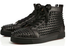 Authentic BNIB AW/15 Christian Louboutin Louis Flat Spikes Calf Leather Sneakers