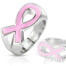 Pink Ribbon Cancer Awareness Enamel Filled Cast Band Ring Stainless Steel