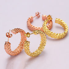 1 Pair Women Lady 18K Gold Plating Round Ear Clip Stud Earrings Fashion Jewelry